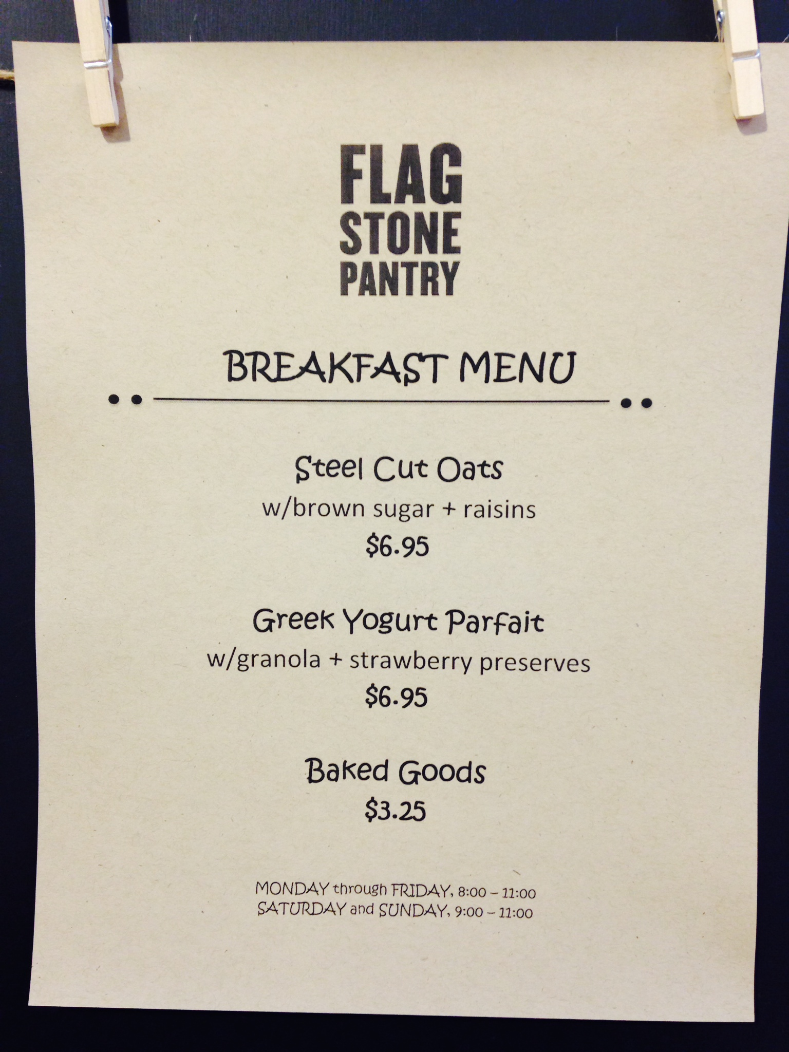Breakfast Menu Flagstone Pantry